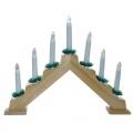 svícen vánoční el. 7 svíček,teplá BÍ,jehlan,dřev.přírodní,do zásuvky