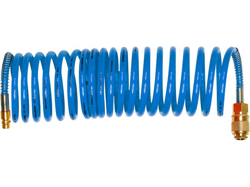 """hadice vzduchová spirálová PU s mosaznými rychlospojkami, 1/4"""", vnitřní ∅6mm, L 15m"""