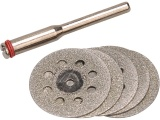kotouče diamantové, na přímou brusku, sada 6ks, průměr dříku 3,2mm