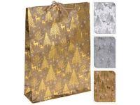 taška dárková 34,5x25x8,5cm (L) VÁNOČNÍ mix dekorů