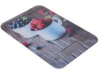 váha kuchyňská plochá 5kg digitální, tvrz.sklo mix dekorů