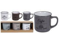 hrnek 330ml COFFEE keramický mix barev (3ks)